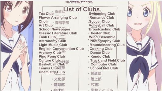 Hanayamata Club List