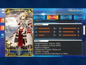Mordred Profile from Fate/Grand Order